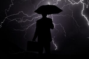 Businessman caught in a storm